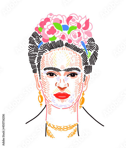 Obraz na plátně Mexican artist Magdalena Carmen Frida Kahlo was born on July 6, 1907, who painted many portraits and self-portraits