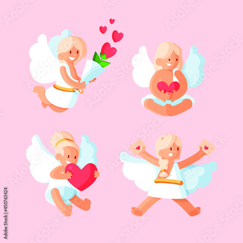 Cartoon cupid character collection Fototapet