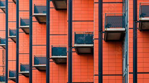Fotografie, Obraz Building with many balconies, Pattern of the facade of a building, Balconies