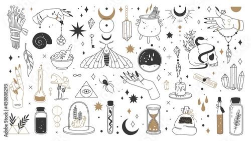 Canvas Print Witch magic elements, mystic boho witchcraft logo