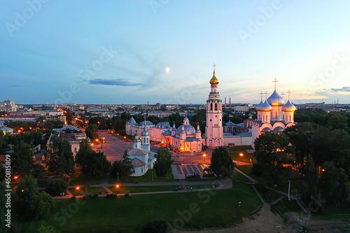 Fotografie, Obraz autumn vologda kremlin, drone top view, russia religion christian church