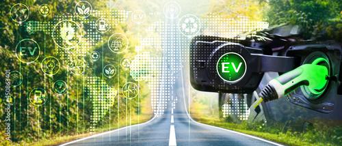 Obraz na plátně Charge EV electric car hybrid technology concept