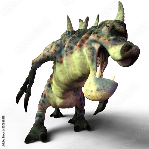 Slika na platnu 3d-illustration of a lauging isolated dinosaur centipede fantasy creature