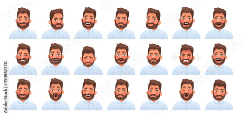 Fotografering Set of different emotions of a bearded man