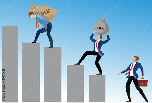 Obraz na plátně Crisis of high burden of consumer debt, : Client bears a bag of debt Debtor has