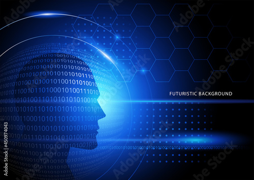 Futiristic background with human head and binary numbers