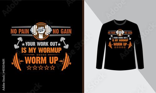 Fotografia Gym t shirt design, No pain no gain vector quotes design.