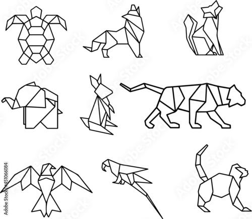 Obraz na plátně geometric line animals -turtle, wolf, fox, elephant, rabbit, tiger, eagle, parrot and monkey vector illustration icon set isolated on white background