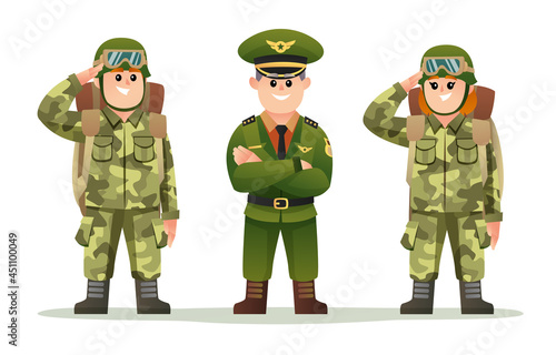 Fotografie, Obraz Cute army captain with male and female soldiers carrying backpack character set
