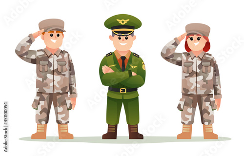 Fototapeta Cute army captain with boy and girl soldiers cartoon character set