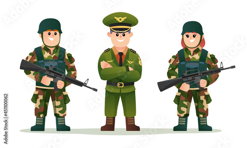 Fotografiet Cute army captain with boy and girl soldiers holding weapon guns character set