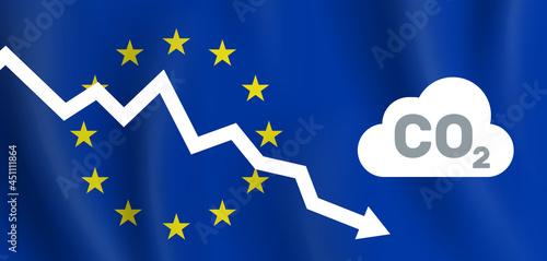 Wallpaper Mural EU reducing co2 carbon dioxide emission  graph down european union flag backgrou