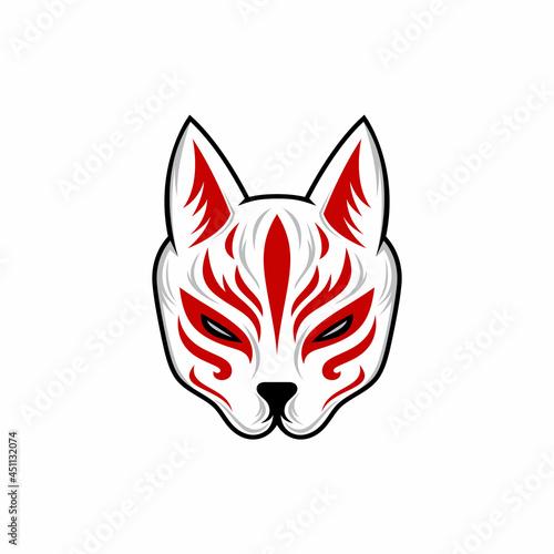 Canvas Print kitsune mask illustration, Japanese traditional mask, kitsune, kabuki, bunny, fo