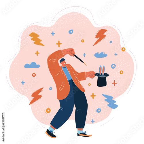 Billede på lærred Vector illustration of Full length portrait of a magician holding a top hat with