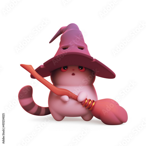 Fototapeta Surprised kawaii wizard cat in big witch's purple hat with a broom in its paws stands on its hind legs