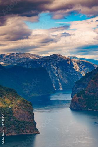 Fototapeta Fjord landscape Aurlandsfjord in Norway