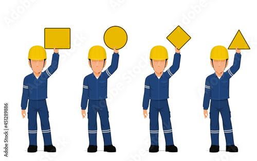 set of industrial workers are raising empty sign overhead Fototapeta