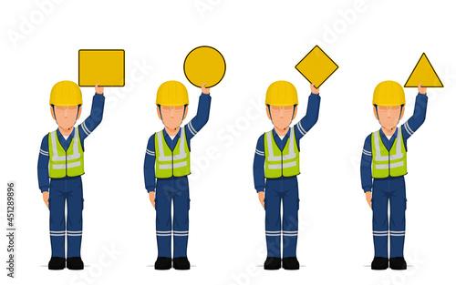 Fototapeta set of industrial workers are raising empty sign overhead