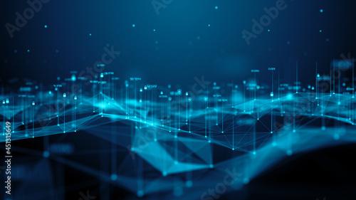Slika na platnu Cyber security encrypted data networks secure global information technology - Co