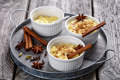Tela sweet rice pudding with cinnamon and anise star