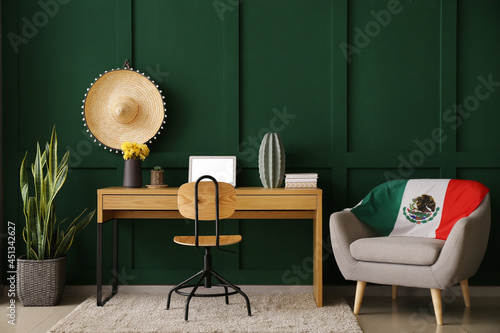 Fotografia, Obraz Interior of stylish room with workplace and Mexican flag