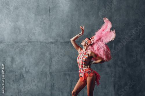 Fotografiet Woman in samba or lambada costume with pink feathers plumage.
