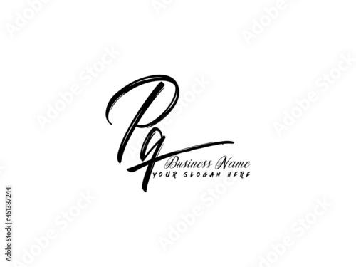 Murais de parede Brush PQ Letter Logo, monogram pq signature logo icon vector for business