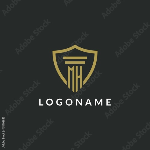 Photo MH initial monogram logo with pillar and shield style design