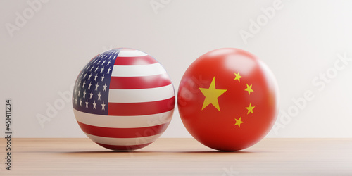 Murais de parede USA and China flag pint screen on balls for tariff trade war and military war between both countries conflict by 3d render