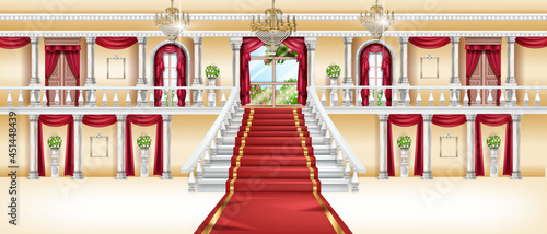 Canvas Palace interior, vector castle room background, royal ballroom, arch window, red carpet, marble column