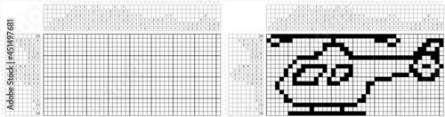 Tela Helicopter Icon Nonogram Pixel Art M_2108001