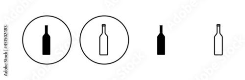 Cuadros en Lienzo Bottle icon set. bottle vector icon
