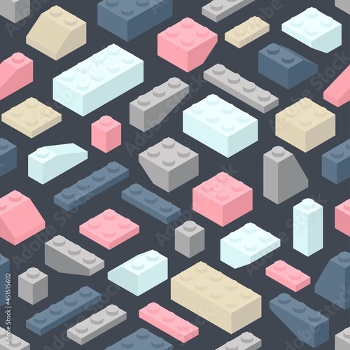 Fotografia Isometric toy building block bricks like Lego for children, Seamless vector pattern, pastel color and dark blue background