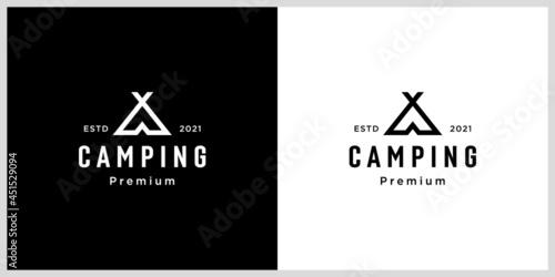 Carta da parati tent camping logo vector line style