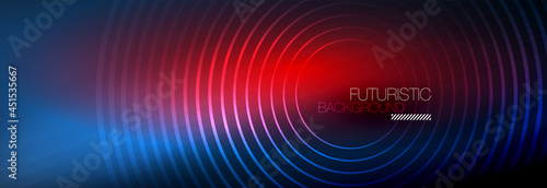Dark abstract background with glowing neon circles Fototapet