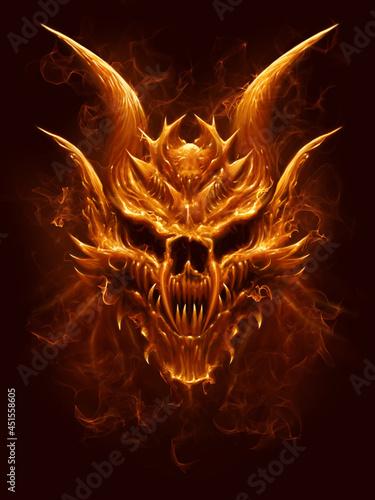 Fotografia Fire demon skull on the dark background. Digital painting.