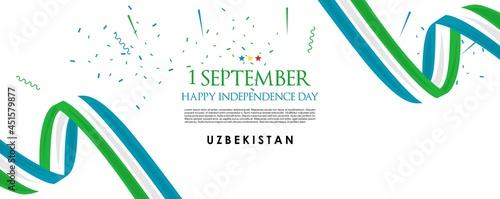 Fotografia, Obraz vector illustration of 1st September Uzbekistan Happy Independence Day