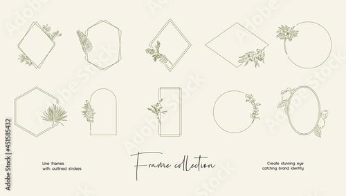Fotografia Bohemian Style vector frame set for brand identity, logo design