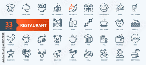 Tablou Canvas Restaurant cafe menu, food and drink - thin line web icon set