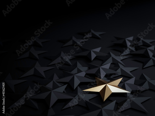 One golden star on black stars on dark background for outstanding ,different creative thinking idea for customer satisfaction and marketing concept by 3d render.