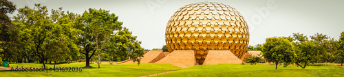 Fényképezés Incredible India Tourism, Panoramic view of Auroville is a universal city in the
