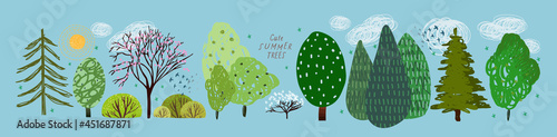 cute summer trees, vector isolated illustration of trees, leaves, fir trees, shr Fotobehang