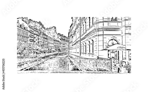 Fototapeta Building view with landmark of Karlovy Vary is the  city in the Czech Republic