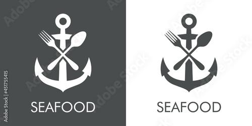 Foto Logotipo con texto Seafood con silueta de ancla de barco con cubiertos con linea