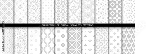 Photographie Geometric floral set of seamless patterns