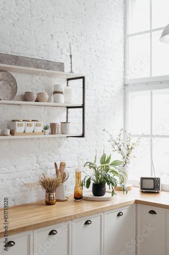 Valokuvatapetti Home kitchen interior, closeup of modern decor.
