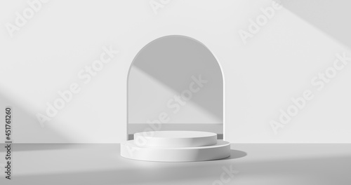 Billede på lærred White product background or empty blank space room design and window light minimal shadow display platform stage on interior podium pedestal scene backdrop stand with studio showcase