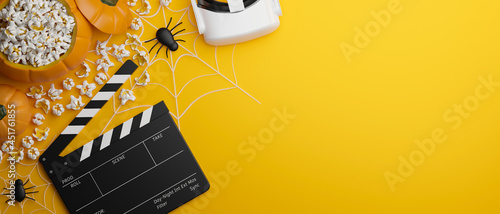Foto Halloween virtual experience movie night banner concept, yellow background, 3d r