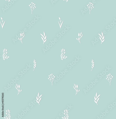 Fotografia Seamless floral botanical pattern with white wildflowers plants twigs on baby blue background