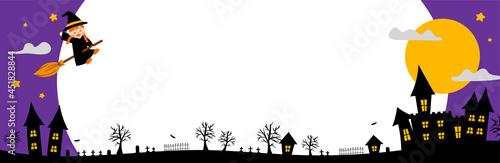Fotografering 空飛ぶ魔女と夜の屋敷のハロウィンフレーム(横長)